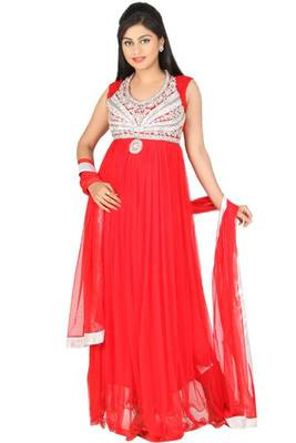 Rose-madder Red Net Embroidered Party and Festival Ready Made Lawn Kameez