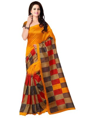 Multicolor printed bhagalpuri silk saree with blouse