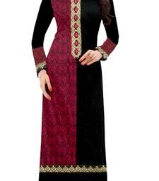 Buy Black printed cotton semi stitched long-kurtis kurtis-below-500 online