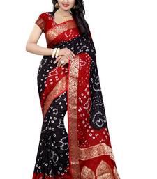 Buy Black hand woven art silk saree with blouse bandhani-sarees-bandhej online