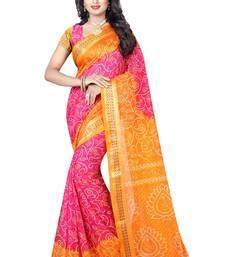Buy Orange hand woven art silk saree with blouse bandhani-sarees-bandhej online
