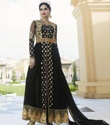 Buy Black embroidered georgette salwar with dupatta wedding-salwar-kameez online