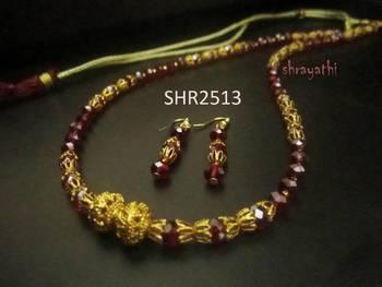 Red crystal necklace set