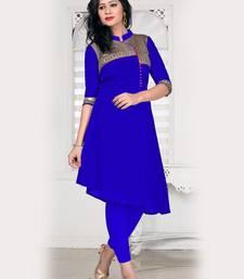 Buy Royal blue plain silk stitched kurtas-and-kurtis kurtas-and-kurtis online