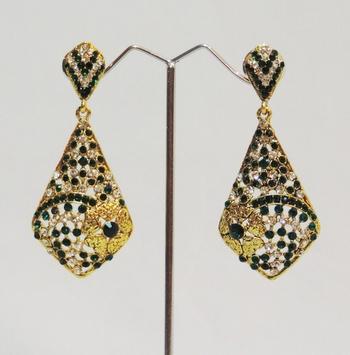 Green Gold Stones Floral Dangler Earrings