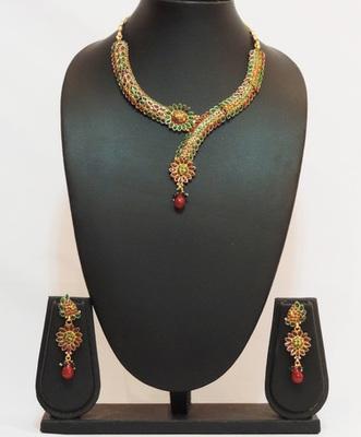 Green Maroon Gold Polki Necklace Set