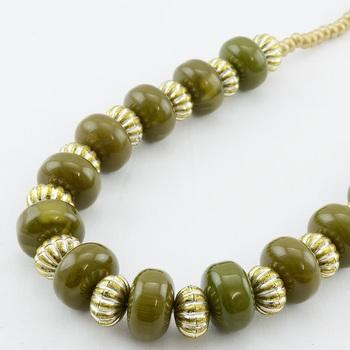Rustic Olive Green Neckpiece & Earring Set