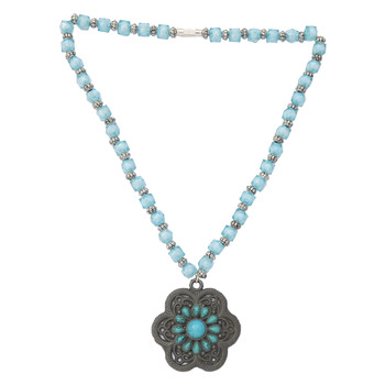 Antique Floral Crystal Blue Necklace