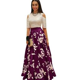 Buy Purple embroidered dupion silk unstitched lehenga with dupatta lehenga online