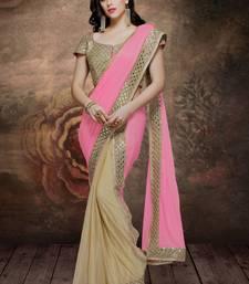 Buy pink plain lycra saree with blouse bridal-saree online