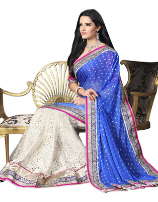 Blue Jacquard & Net Designer Hand Work Embroidered Sarees With  Blouse