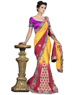 Yellow  Georgette Designer Hand Work Embroidered Sarees With  Blouse