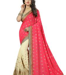 Buy Pink embroidered bemberg saree with blouse georgette-saree online