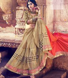 Buy Salmon embroidered silk saree with blouse wedding-saree online