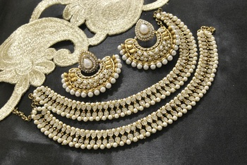 Bollywood Earrings with Moti, white stones & pearl Anklets
