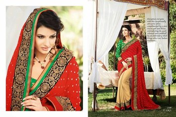 Styloce Red,Beige Georgette Embroidery Stone Work Saree-STY-2118