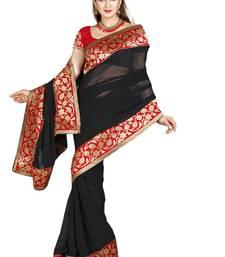 Buy BLACK FAUX CHIFFON PARTY WERE SAREE WITH BLOUSE chiffon-saree online