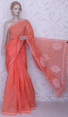 Orange embroidered cotton saree with blouse