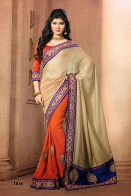 Indian multi color border work jutt cotton pallu chifon partywear rajasthani saree with blouse piece