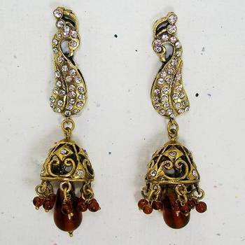 Victorian Peacock Long Earring Copper
