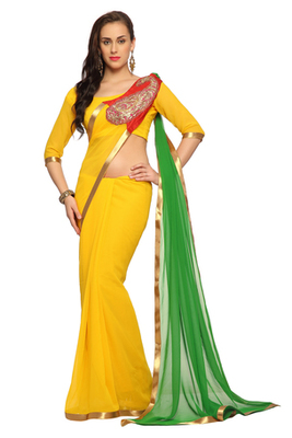 Yellow / Green Embroidered Faux georgette Saree With Blouse (1505)