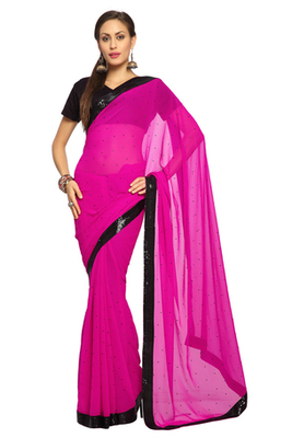 Deep Magenta Embroidered Faux georgette Saree With Blouse (1522)