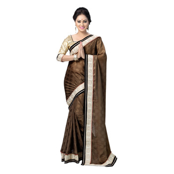 Hypnotex Coffee Embroidered Chiffon Jacquard Saree With Blouse