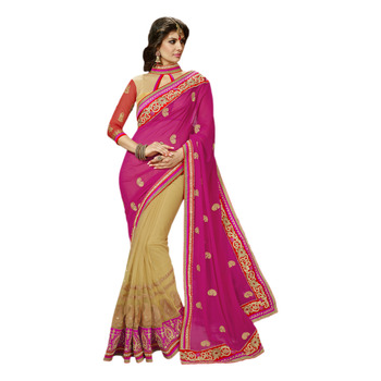 Hypnotex Pink Cream Embroidered Georgette Net Saree With Blouse