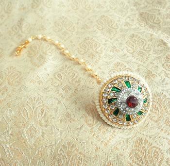 multicolor pearl ad bor borla maang tikka wedding and festival jewellery