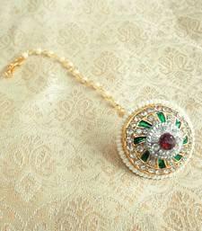 Buy Lalso Multicolor Pearl AD Bor Borla Maang Tikka Wedding and Festival Jewelry maang-tikka online