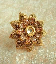 Buy Lalso Copper Royal Golden Kundan Zircons Adjustable Finger Ring Ring online