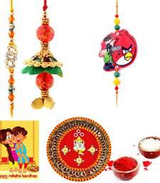 Buy Designer Meenakari Pooja Thali Rakshabandhan Gift thread-rakhi online