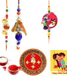 Buy Jaipuri Meenakari Pooja Thali Rakshabandhan Gift thread-rakhi online