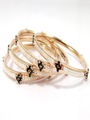 9blings pearl cz gold plated 4pc bangle l7197
