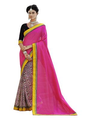Ethnic Basket Bhagalpuri Silk Pink Colored Saree.With Blouse