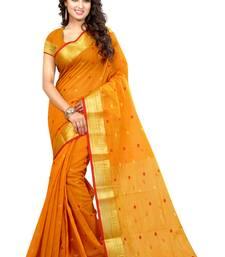 Buy Mustard woven banarasi silk saree with blouse banarasi-saree online