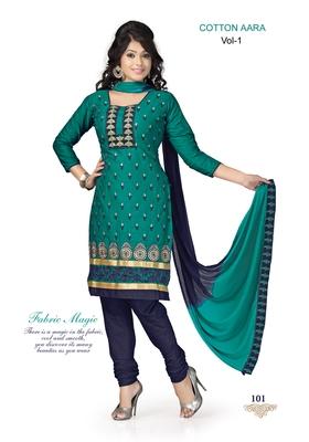 Green Embroidered Cotton Un-Stitched Printed Salwar Kameez