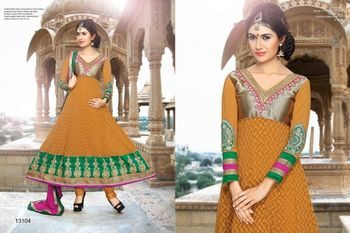 Mustard And Green Georgette Semi stitched Anarkali Salwar Suit
