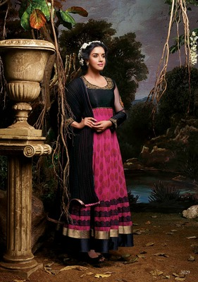 Asin Pink and Black Embroidery Pure Georgette Printed Semi Stitched Designer Anarkali Suit