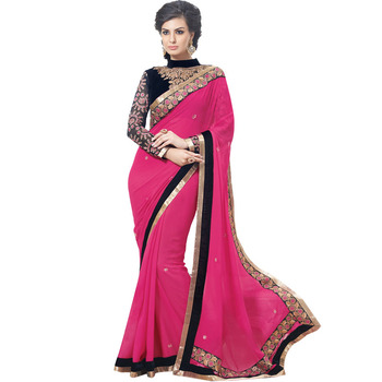 Rani color embroidered georgette pattern wedding saree with blouse piece