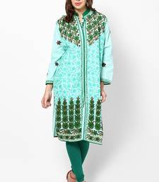 Buy Turquoise embroidered cotton stitched ethnic-kurtis ethnic-kurti online