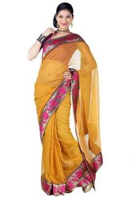 Yellow color embroidered cotton full saree with blouse