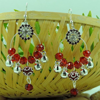 Silver Roung Red Crystal Bali Earring