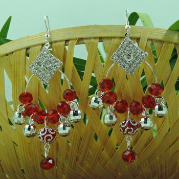 Square Shape Red Crystal Studded Earring