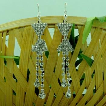 Multi Tringle Shape Silver String Drop Earring