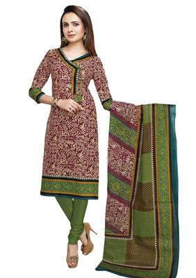 Brown & Green unstitched churidar kameez with dupatta-VN-768