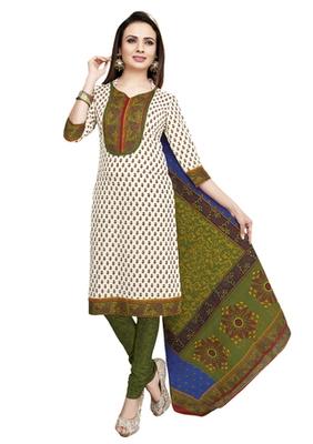 White & Green unstitched churidar kameez with dupatta-VN-770