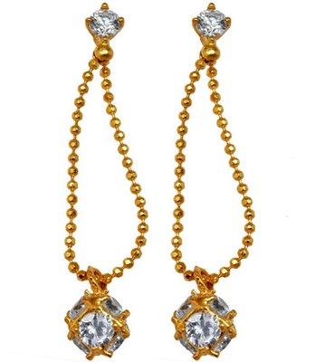 Posh Gold Contemporary Push-Back Ear Thread Earrings