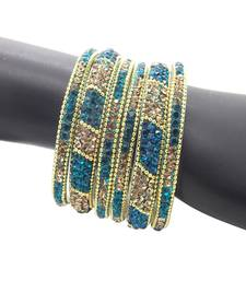 Buy Ethnic Turquoise Plated 6pc Enamel Lakh CZ Bangle bangles-and-bracelet online