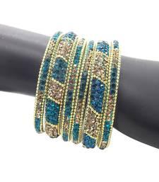 Buy Ethnic Turquoise Plated 6pc Enamel Lakh CZ Bangle bangles-and-bracelet online